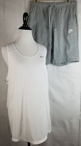 Nike Short Set! Gray Shorts Med White Tank Large